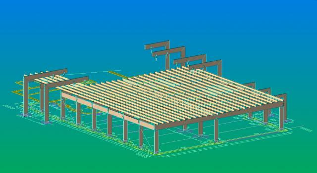 Drevená lepená konštrukcia, lepené lamelové nosníky - Terminál letiska