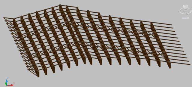 Drevená lepená konštrukcia, lepené lamelové nosníky - Strešná konštrukcia Ekonomická univerzita