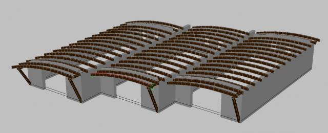 Drevená lepená konštrukcia, lepené lamelové nosníky - Kamon Liptovská Mara