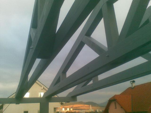 Drevená lepená konštrukcia, lepené lamelové nosníky - Carport