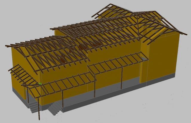 Drevená lepená konštrukcia, lepené lamelové nosníky - Polyfunkčný Objekt