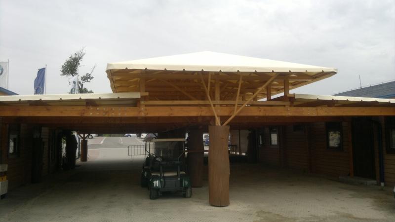 Drevená lepená konštrukcia, lepené lamelové nosníky - Letná terasa Golf Malacky