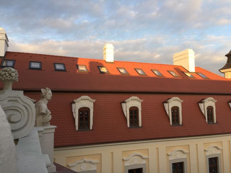 Drevená lepená konštrukcia, lepené lamelové nosníky - Kaštieľ Bernolákovo