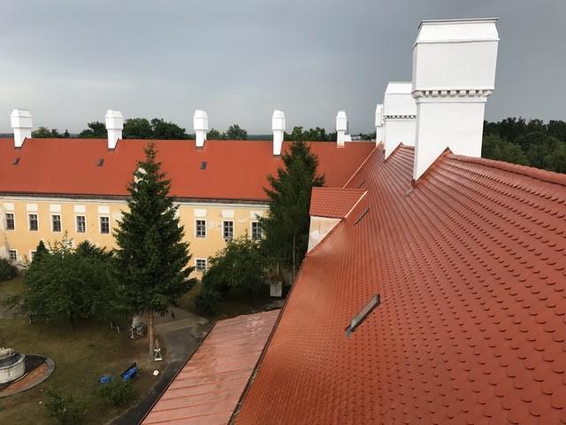 Drevená lepená konštrukcia, lepené lamelové nosníky - Kaštieľ Malacky