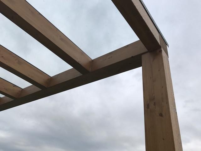 Drevená lepená konštrukcia, lepené lamelové nosníky - Pergola